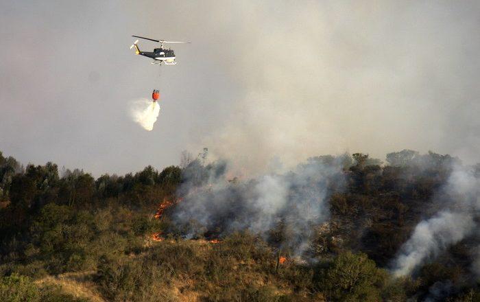 San Antonio, 25 de Diciembre 2016. Incendio forestal de gran magnitud en San Antonio, el cual avanzo hacia cartagena en donde fueron afectadas 4 casa. Alejandro Allen/Aton Chile